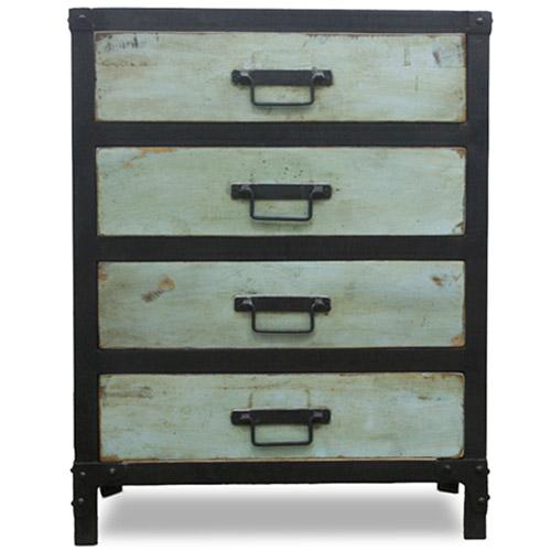 Cassettiera Blu Vintage Industriale Grange&Co - Ferro e legno