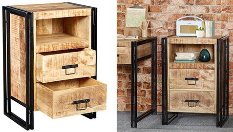 Comodino in legno e metallo in stile industriale vintage for Cassettiera industriale vintage