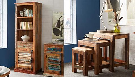 Mobili In Legno Riciclato : Tavolini bassi vintage impilabili in legno riciclato