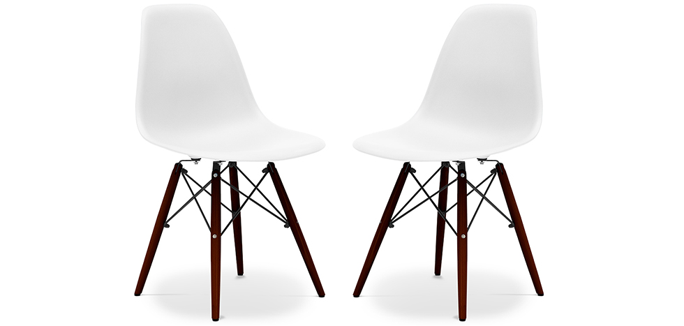 Lotto di 2 sedie DSW gambe scure Charles Eames