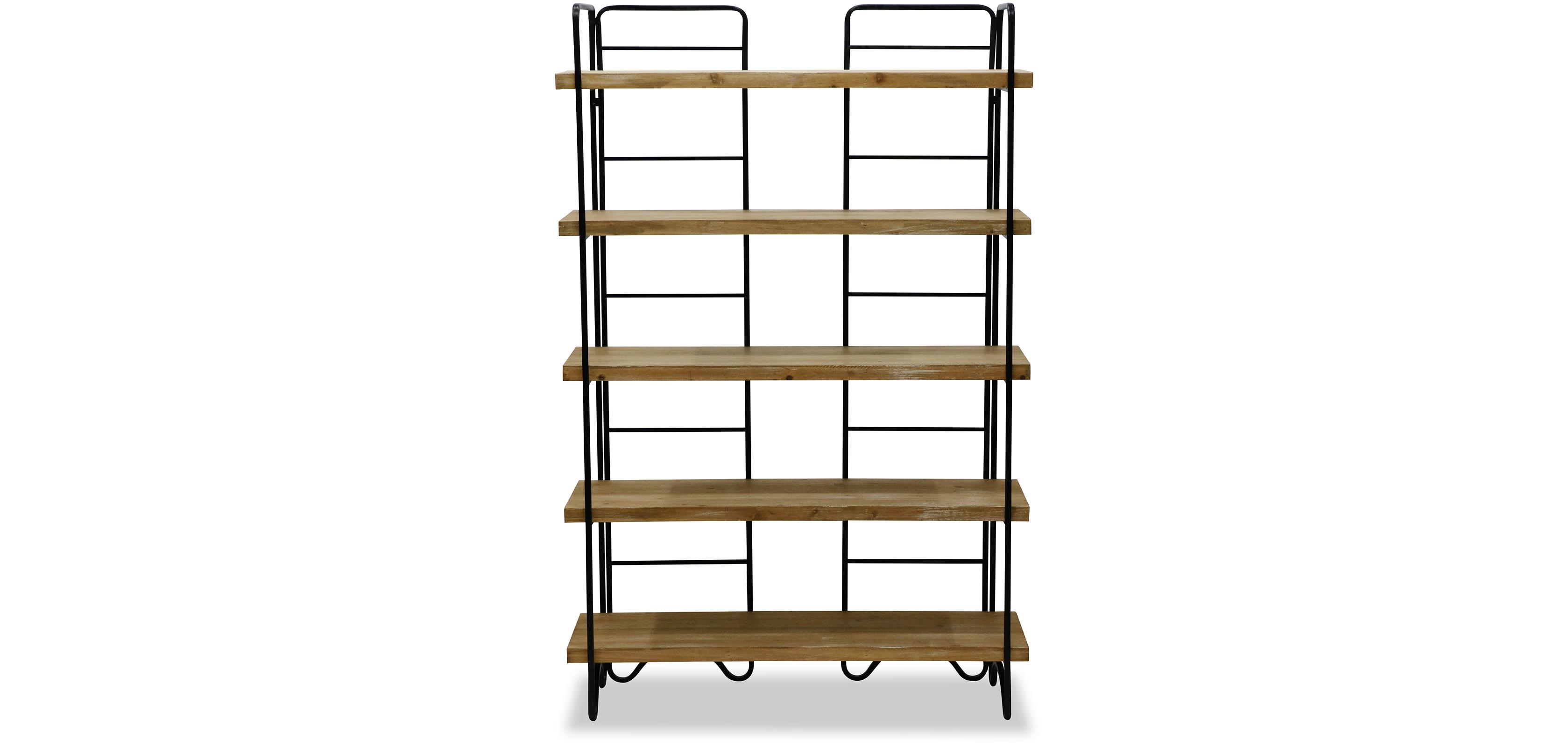 Libreria in legno e metallo stile industriale 5 scaffali for Scaffali libreria in legno