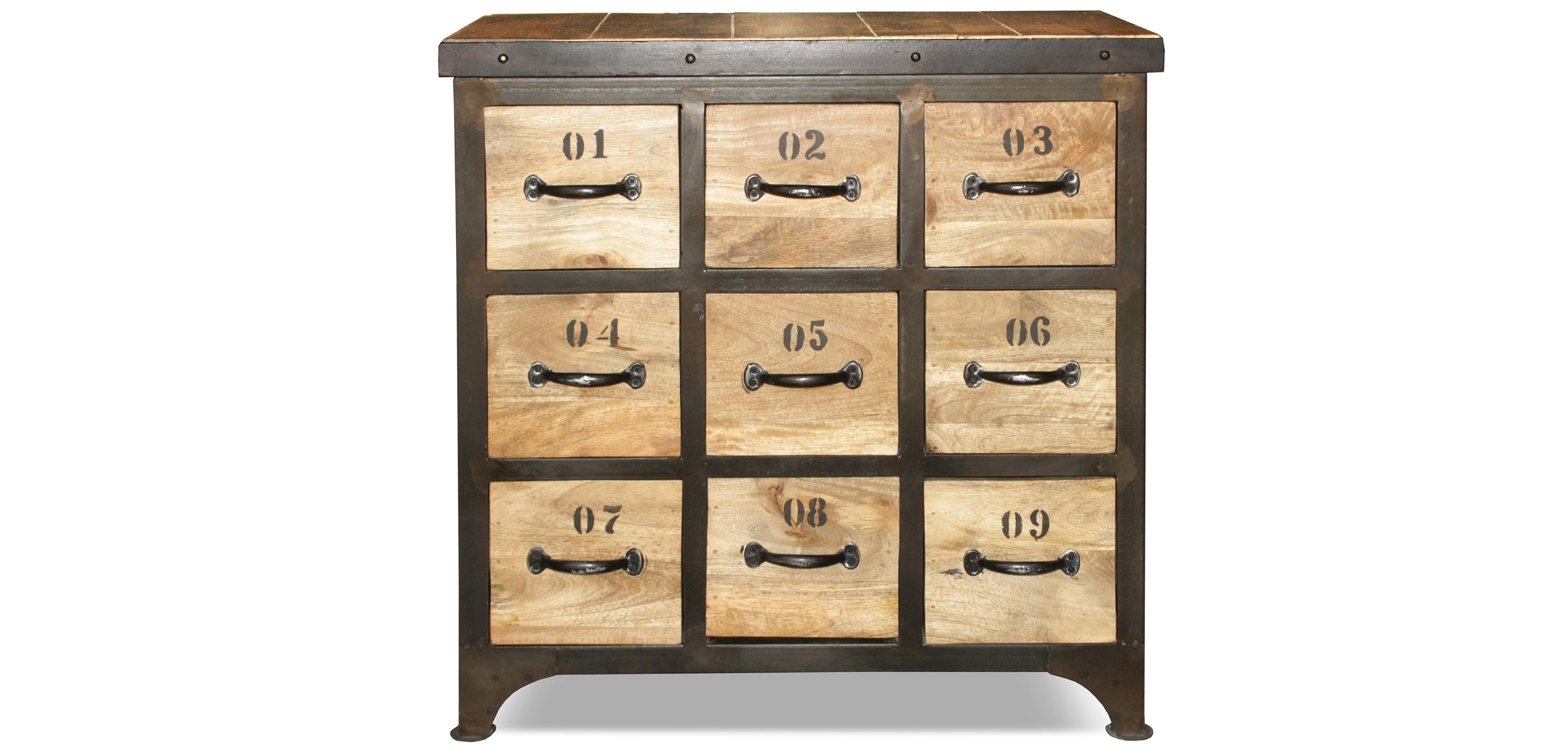 Cassettiera di legno vintage industriale for Cassettiera industriale vintage