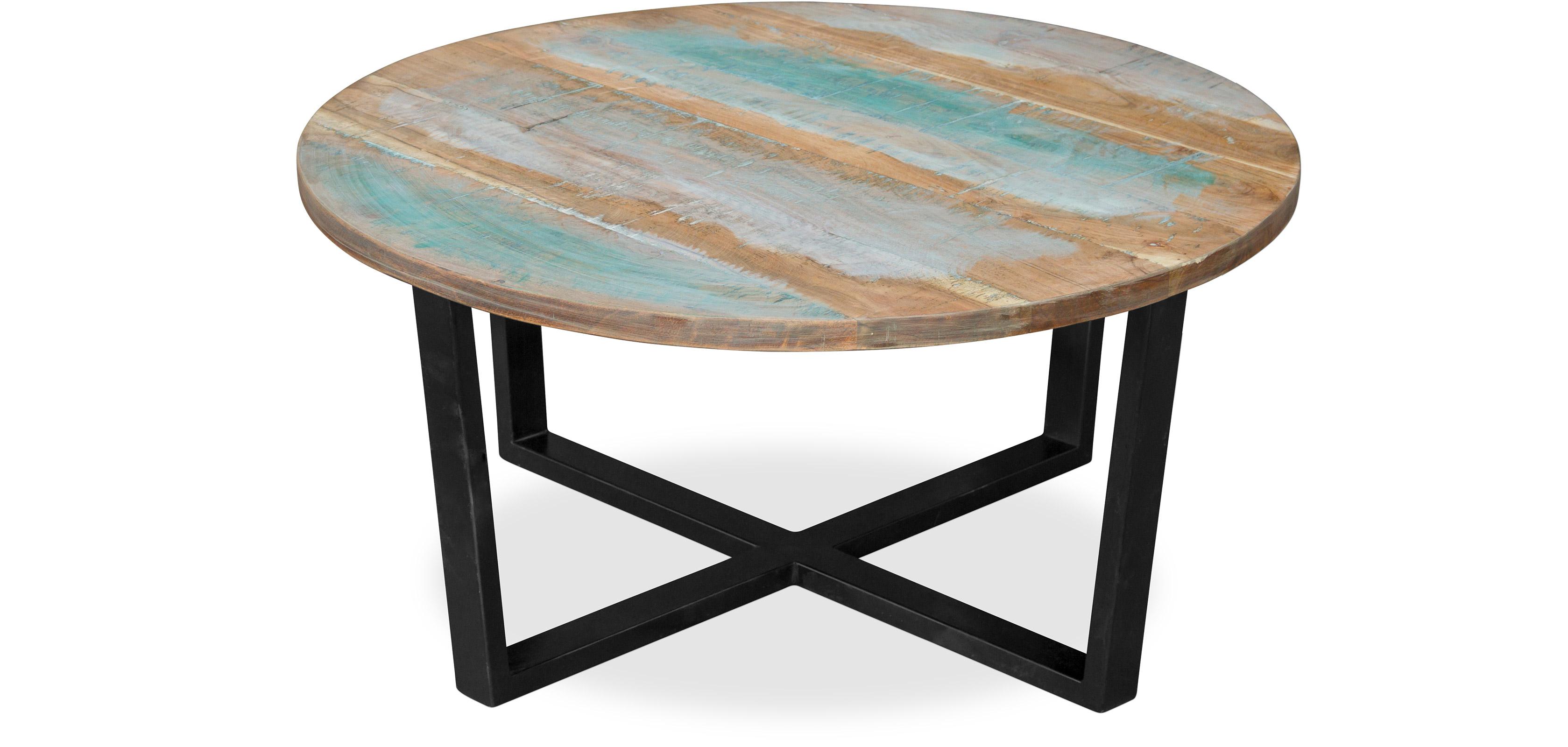 Tavolo tondo da caff basso vintage in legno riciclato - Tavolo legno riciclato ...