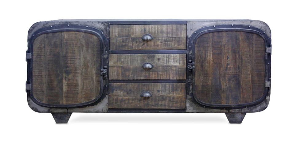 Mobile tv stile industriale vintage retr grange co legno - Mobile tv vintage ...